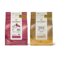 Callebaut - Ruby and Gold 2 x 2.5kg Bundle - Finest Belgian Ruby RB1 and Caramel Gold Chocolate Couverture (Callets)