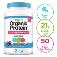 Orgain Organic Plant Based Protein + Superfoods Powder, Creamy Chocolate Fudge - Vegan, Non Dairy, Lactose Free, No Sugar Added, Gluten Free, Soy Free, Non-Gmo, 32 Ounce