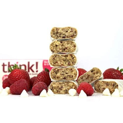 Think! High Protein Bars - Berries & Creme, 20G Protein, 1G Sugar, No Artificial Sweeteners, Gluten Free, Gmo Free, 2.1 Oz Bar (10 Count)