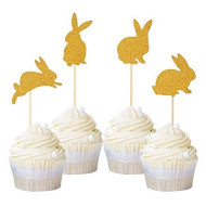 iMagitek 24 Pack Rabbit Cupcake Toppers for Baby Girl 1st Birthday Party, Baby Shower, Kids Birthday Party, Easter