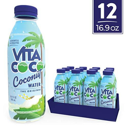 Vita Coco Coconut Water, Pure Original | Gluten Free | Naturally Hydrating Electrolyte Drink | Smart Alternative To Coffee, Soda, And Sports Drinks | 16.9 Ounce Slim Bottle (Pack Of 12)