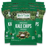 Rhythm Superfoods Kale Chips, Original, Organic And Non-Gmo, 0.75 Oz (Pack Of 8) Single Serves, Vegan/Gluten-Free Superfood Snacks, Packaging May Vary
