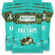 Rhythm Superfoods Kale Chips, Kool Ranch, Organic And Non-Gmo, 0.75 Oz (Pack Of 8) Single Serves, Vegan/Gluten-Free Superfood Snacks, Packaging May Vary