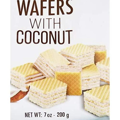 Italione Bite Size Wafers with Coconut. Delicious Mini Wafers. Natural Product. No Preservative. 1 Bag(200gr).