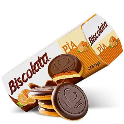 Biscolata Pia Cookies With Fruit Filling - 4 Pack Snacks Soft Baked Cookies (Orange)
