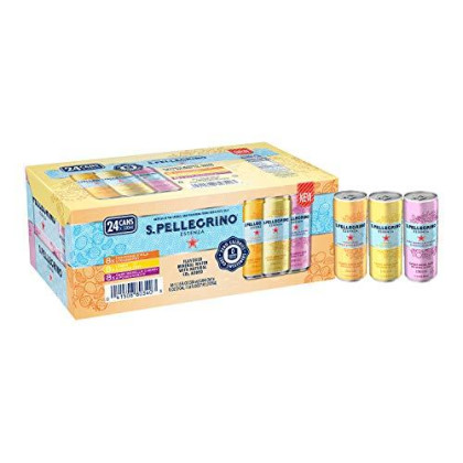 S.Pellegrino Essenza Flavored Mineral Water, Variety Pack 11.15 Fl Oz. Cans (24 Pack)