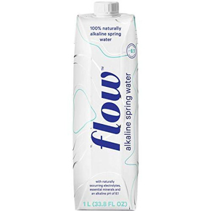 Flow Alkaline Spring Water, 100% Natural Alkaline Water, Eco-Friendly Packaging, Refreshing Taste, Boxed Mineral Water, Natural Electrolytes, Water With Ph, Non-Gmo, Bpa-Free, Liter (12)