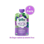 Zellee Organic Fruit Jel Pouches   Blueberry Grape   6 Pack   Non-Gmo, Gluten-Free, Vegan, Plant-Based, No Added Sugar, Antioxidant Rich   Healthy Snack For Adults & Kids   Jello Alternative