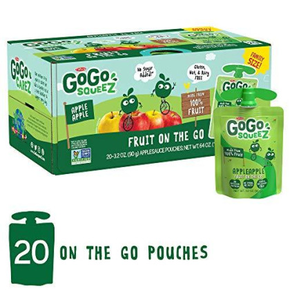 Gogo Squeez Applesauce On The Go, Apple Apple, 3.2 Oz (20 Pouches), Gluten Free, Vegan Friendly, Healthy Snacks, Unsweetened Applesauce, Recloseable, Bpa Free Pouches