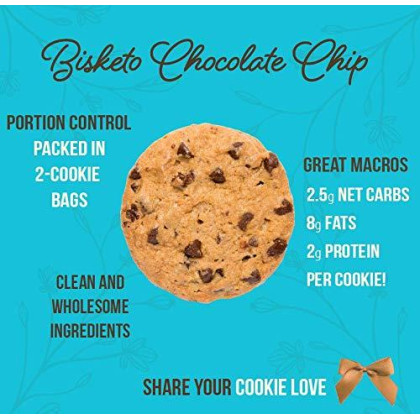 Low Carb Cookies Bisketo - Keto Snacks, Low Net Carbs, Sugar & Gluten Free - Box With 6 Pack, 12 Cookies (Chocolate Chip) - Ketogenic Diet Friendly & Healthy Snack Food