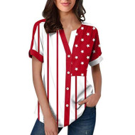 Randolly Women'S Tops Summer American Flag Independence Day Short Button Sleeve Tops Red