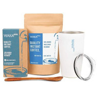 Waka Coffee To-Go Set | Great Gift For Campers, Travelers, Or As An Instant Coffee Starter Kit | Includes: Quality Instant Coffee Single-Serve Box, 3.5 Oz Bag, Miir Tumbler, Bamboo Spoon