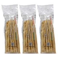 Mario Fongo Hand Stretched Large Italian Breadsticks Grissini Rubata - Imported From Italy - 200G (7Oz) (3 Pack)