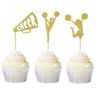 Newqueen 24 Pack Cheerleader Cupcake Toppers Gold Glitter Cheerleading Congratulation Cupcake Picks Birthday Party Cake Decors