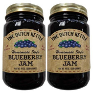 The Dutch Kettle Amish Homemade Style Blueberry Jam 2 - 19 Oz Reusable Jars Of All Natural Non-Gmo No Preservatives