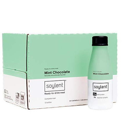Mint Chocolate Soylent Meal Replacement Shake, 12-Pack, Mint Chocolate, 14 Oz Bottles, 20G Plant Protein