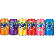 Fanta Six Flavor Variety Bundle Of 6 Cans: Orange Grape Pineapple Strawberry Berry Fruit Punch