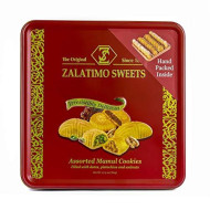 Zalatimo Sweets Since 1860, 100% All-Natural Assorted Mamoul Shortbread Biscuits, Slightly Sweet, Square Metal Gift Tin, Pistachio, Walnuts, Dates, No Preservatives, No Additives, No Corn Starch, No Syrups! 1.7 Lb