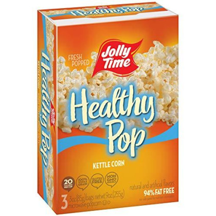 Jolly Time Healthy Pop Kettle Corn | Sweet & Salty Microwave Popcorn - Guilt-Free Low Fat Diet Treat (3-Count Boxes, Pack Of 4)