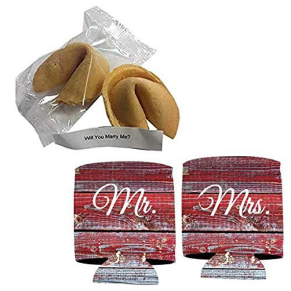 Victorystore Wedding Proposal: Will You Marry Me? Fortune Cookie With Message Inside (2 Cookies + Mr And Mrs Barnwood Can Cooler)