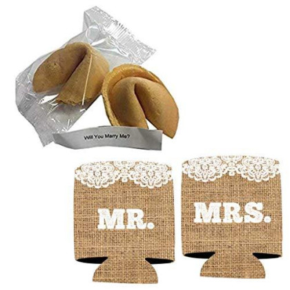 Victorystore Wedding Proposal: Will You Marry Me? Fortune Cookie With Message Inside (2 Cookies + Mr And Mrs Burlap Can Cooler)