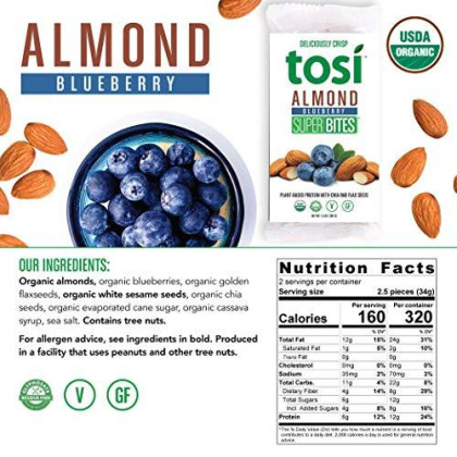 Tosi Organic Superbites Vegan Snacks, Almond Blueberry, 2.4Oz (Pack Of 12), Gluten Free, Omega 3S, Plant Protein, Fiber From Flax And Chia Seeds