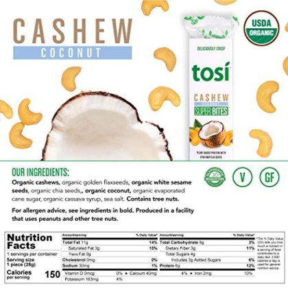 Tosi Organic Superbites Vegan Snacks, Cashew Coconut, 1Oz (Pack Of 12), Gluten Free, Omega 3S, Plant Protein Bars With Flax And Chia Seeds