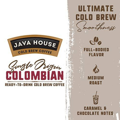 Java House Cold Brew Coffee On Tap, Colombian Black (128 Oz. Box) Single Origin, Not A Concentrate, No Sugar, Ready To Drink Liquid