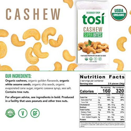 Tosi Organic Superbites Vegan Snacks, Cashew, 2.4Oz (Pack Of 12), Gluten Free, Omega 3S, Plant Protein Bars With Flax And Chia Seeds