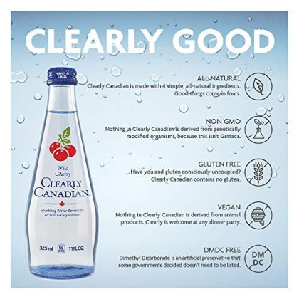 Clearly Canadian - Sparkling Spring Water Beverage - Case Of 12 Bottles - 11 Fl. Oz. (325 Ml) - Product Of Canada (Wild Cherry)