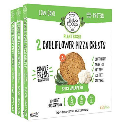 Cali'Flour Foods Plant-Based Pizza Crust (Spicy Jalapeno, 3 Boxes, 6 Crusts) - Fresh Cauliflower Base | Vegan, Low Carb, High Protein, Gluten And Grain Free | Paleo Friendly