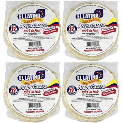 El Latino arepas colombianas blancas. 4 packs of 12 each. Total 48 arepas