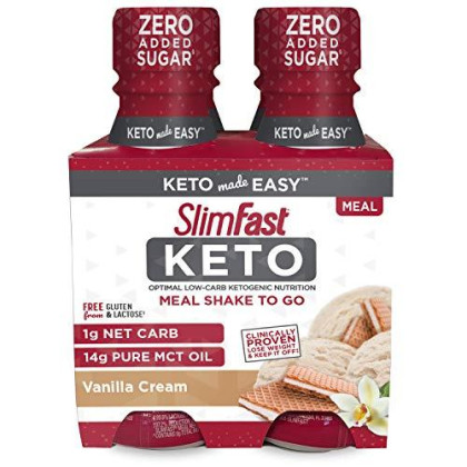 Slimfast Keto Vanilla Shake - Ready To Drink Meal Replacement - 11 Fl. Oz Bottle - 4 Count