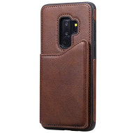 Lomogo Case For Samsung Galaxy S9 (S9 Plus) Leather Silicone, Shockproof Soft Rubber Bumper Case Non-Slip Back Cover Thin Fit For Galaxy S9 (S9Plus) - Loktu130114 Brown