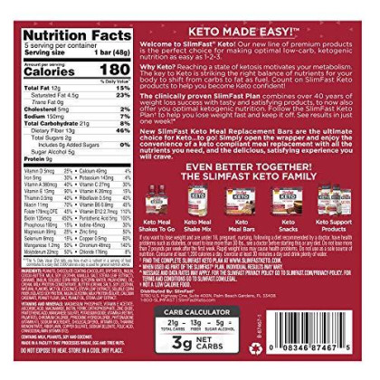 Slimfast Keto Meal Replacement Bar, Nutty Caramel & Nougat, 8.5 Oz