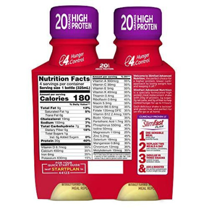 Slimfast Advanced Nutrition Bananas & Cream Shake - Ready To Drink Meal Replacement - 20G Protien (4 Count Of 11 Fl Oz Bottles), 44 Fl Oz