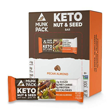 Munk Pack Pecan Almond Keto Nut & Seed Bar With ≪1G Sugar, 3G Net Carbs | No Added Sugar | Vegan | Gluten Free, Soy Free | 12 Pack