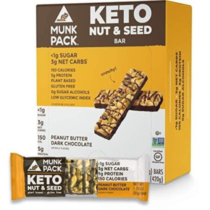 Munk Pack Peanut Butter Dark Chocolate Keto Nut & Seed Bar With ≪1G Sugar, 3G Net Carbs | No Added Sugar | Plant Based | Gluten Free, Soy Free | 12 Pack