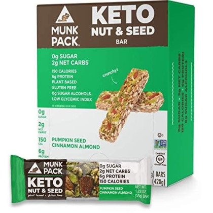 Munk Pack Pumpkin Seed Cinnamon Almond Keto Nut & Seed Bar With 0G Sugar, 2G Net Carbs | No Added Sugar | Vegan | Gluten Free, Soy Free | 12 Pack