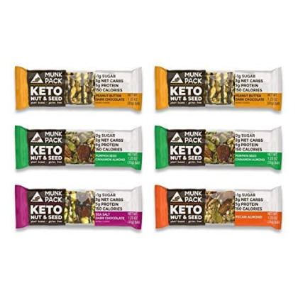 Munk Pack Variety Keto Nut & Seed Bar With ≪1G Sugar, 2-3G Net Carbs | No Added Sugar | Plant Based | Gluten Free, Soy Free | 6 Pack