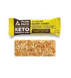 Munk Pack Peanut Butter Keto Granola Bar With 1G Sugar, 2G Net Carbs | Chewy | Grain Free | Vegan | Gluten Free, Soy Free | 12 Pack