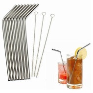 Seniutarm Stainless Steel Drinking Straw Metal Reusable Straw With Cleaner Brush Kit