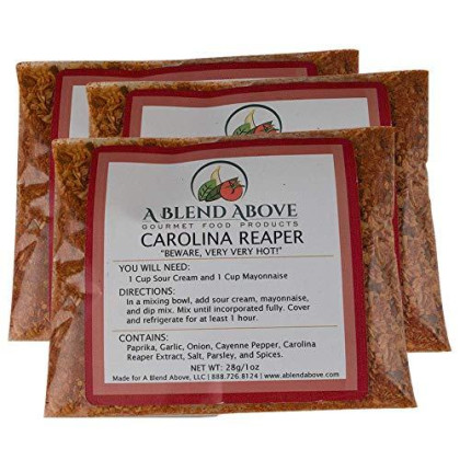A Blend Above Carolina Reaper Spicy Dip Mix Gourmet Food, 1 Oz Packet (3 Pack)