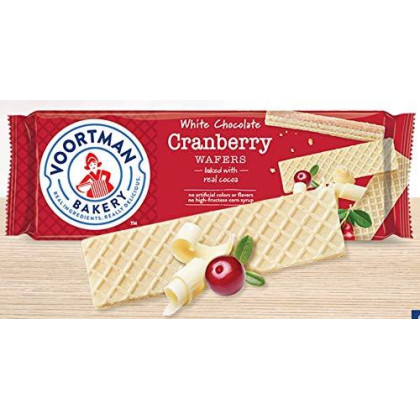 Voortman White Chocolate Cranberry Wafers 10.6 oz (Pack of 4)