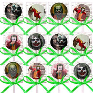 Joker Movie Scary Creepy Clown Lollipops Party Favors Decorations Movie Lollipops w/ Light Green Ribbon Bows Party Favors -12, Halloween Batman Anti-Hero