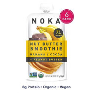 Noka Nut Butter Smoothie Pouches (Banana Cocoa Peanut Butter) 6 Pack | 100% Organic Fruit And Nut Butter Squeeze Packs | Non Gmo, Gluten Free, Vegan, 8G Plant Protein | 4.22Oz Each