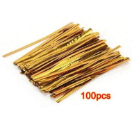 Hot Pack 100 Golden Iron Wire Fastener Twist tie Bag Candy Cookie Lollipops