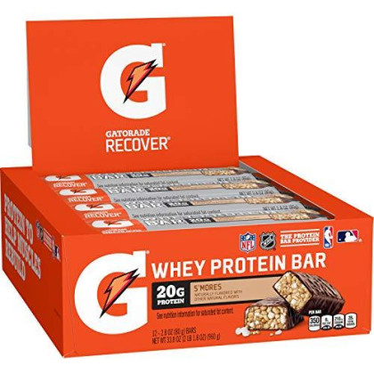 Gatorade Whey Protein Recover Bars, S'Mores, 2.8 Ounce Bars (12 Pack)