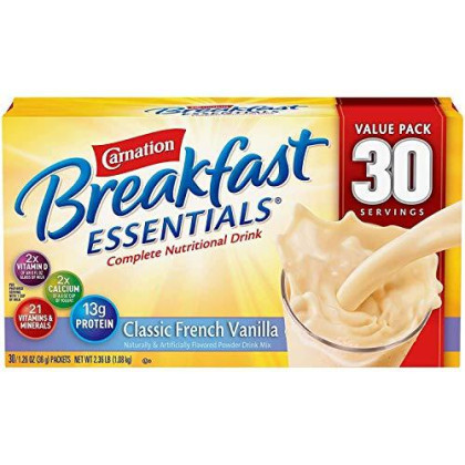 Nestle Carnation Breakfast Essentials - Classic French Vanilla - Drink Mix - 30 Servings Value Pack! - Pack Of 2