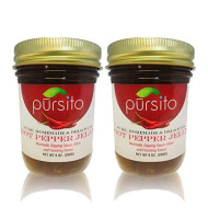 Pursito Homemade Sweet And Delicious Hot Pepper Jelly 9 Oz. With Jalapeno Red And Green Chili Peppers Pure Vegan Natural No High Fructose Corn Syrup Pack Of 2